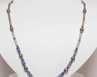 Sterling Silver Unheated Sapphire Necklace
