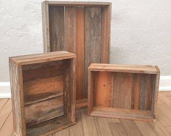 Reclaimed Wood Nesting Tray and Boxes - Reclaimed Florida Cypress