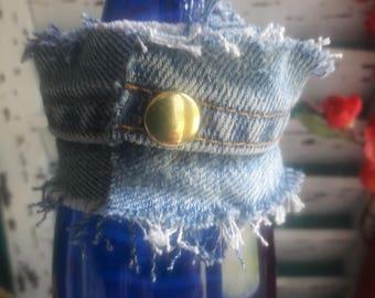 Funky Frayed Denim Cuff Bracelet