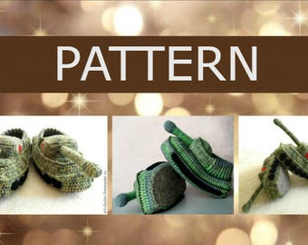 Crochet PATTERN Slippers-TANKS  master class description  PDF мастер класс вязание крючком