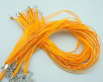 50pcs 16-18 Inches Orange Ribbon Necklace Cords Chains For DIY Jewelry S009