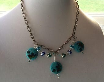 Chain Necklace W/ Butterfly Beads and Matching Earrings