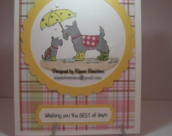 Wishing you the Best of Days Scottish Terrier Greeting Card. Hand Stamped and finished.