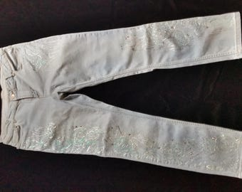 Hand Painted Jeans - Silver Angel