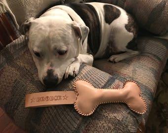 Hand made leather dog toy (bone)