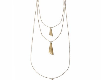 Matt Gold Layered  Necklace with shaped pendants