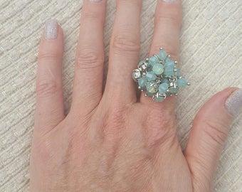 Pretty blue stones crystal ring - silver