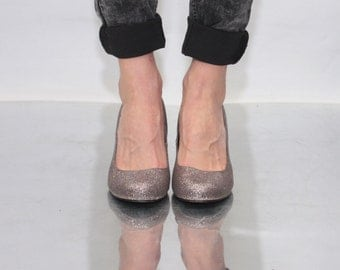 Vintage 90' Amazing Beautiful Glitter Cute High Heel Shoes