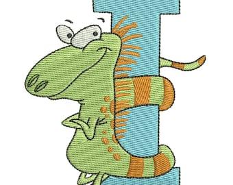 "Letter I Iguana Embroidery Design 4""x4"""