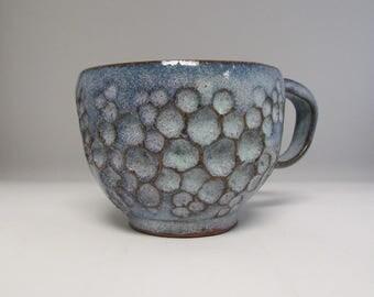 Hand Carved Blue Ceramic Mug/Teacup