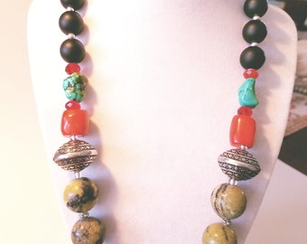 Corale, turquoise, naturale stone necklace