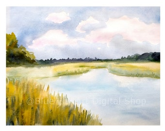 River View – Watercolor Print – Instant Download
