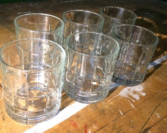 Set of Six Vintage Anchor Hocking Tartan Whiskey / Scotch Rocks Glasses Retro Barware / Drinkware