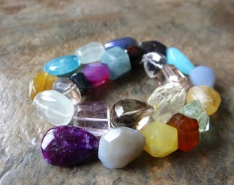 Multi Gem faceted Nuggets/12x10-16x16mm/10.5 inches long