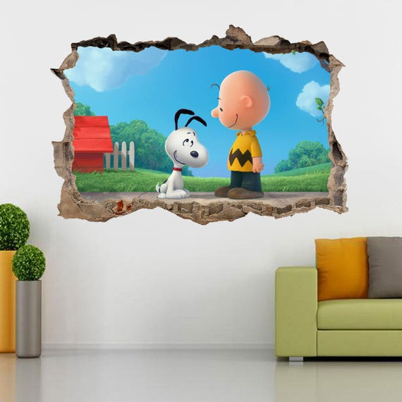 Snoopy and Charlie Brown Smashed Wall Decal by DecorShopDesigns