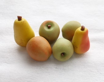 Apples and pears for dollhouse, Polymer clay miniature