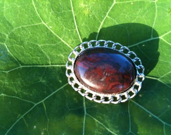 Red and Black Jasper Brooch with Silver Plated Setting