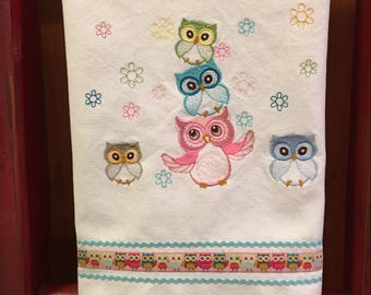 Embroidered Owl Kitchen Towel