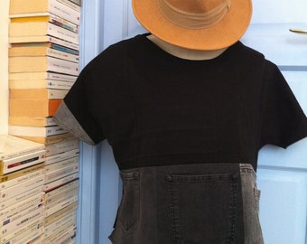 Patchwork of gray and black jeans, round neck T shirt
