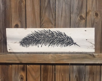 Painted Feather on barn wood