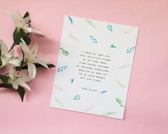 Jane Austen 'Persuasion' Art Print - Literature Quote - Wall Art