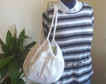 Upcycled White Goddess with atouch of Red Rose Hobo Bag
