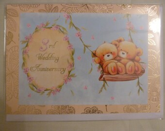 3 year wedding anniversary card. 3rd wedding anniversary. Third wedding anniversary. 5x7