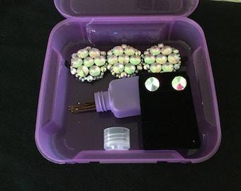 Irish dancer tiara with matching earrings and travel box.