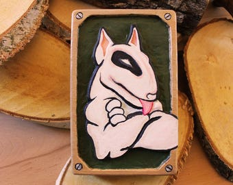 Personalized Gift, Dog Wall Art, Bull Terrier Gift, Wood Carving, Wood Wall Art, Birthday Gift, Dog lover Gift, Gift For Men, Husband Gift