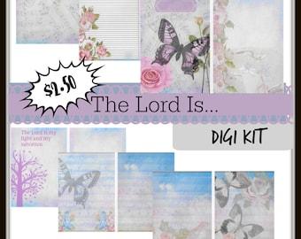 The Lord Is..Printable journal-5x7 journal pages-digital journal kit-ephemera-journal supplies-printable kit-prayer journal-scripture