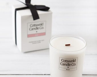 Rose Wooden Wick Soy Scented Candle