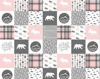 Baby girl patchwork double minky blanket