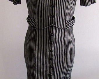 Vintage 80s Miss Dorby Womens Pinstripe Dress