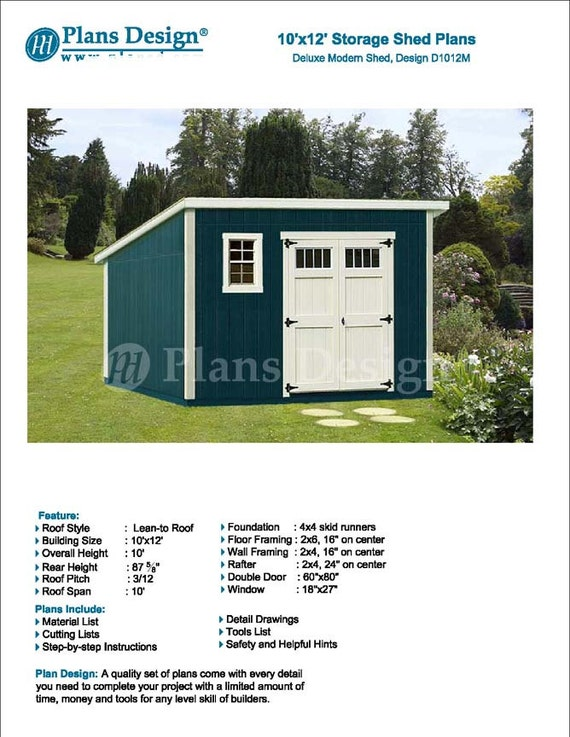 10 39 x 12 39 garden storage modern roof style shed plans for Shed plans and material list