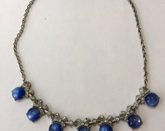 Vintage blue moonglow and rhinestone silver choker necklace