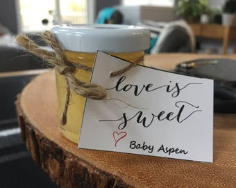 Saskatchewan honey wedding favour jars (with honey)