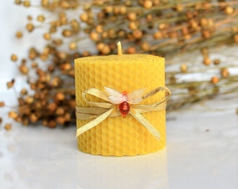 Pure Beeswax Pillar Candle Size W 6 x H 6.5 cm Eco Candle Handmade Pure Natural Honey Scent Handrolled