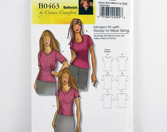 Butterick Pattern 0463 Top, Classic T-Shirt, Sleeve Options, Sizes XS, S, M, L, Xl, Uncut, Easy Sewing Pattern, Multi-Sized for Custom Fit