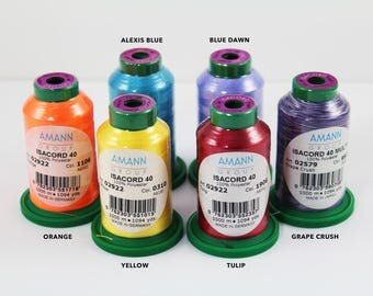 One Spool Embroidery Thread, ISACORD 40 Thread, 1094 Yards, 100% Polyester, Yellow, Tulip Red, Orange, Blue Dawn, Alexis Blue, Grape Crush