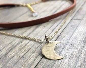 Moon Choker Necklace // Layered Genuine Deer Skin Leather Choker