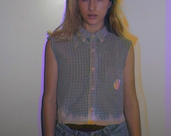 Custom Made Collared Button Up Crop Top