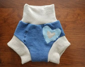 Medium (6-12 months) Wool Diaper Cover with Extra Soaker - Heart Applique