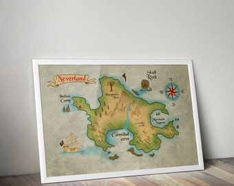 Peter Pan Neverland Map / Peter Pan Nursery / Neverland Map / Map of Neverland / Peter Pan / Peter pan nursery / Captain Hook Print