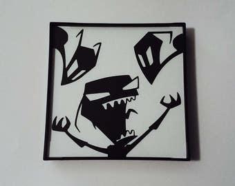 "Invader Zim Framed Silhouette [4""x4""]"