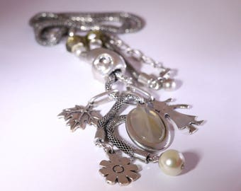 Long Silver Pendant Charm Necklace
