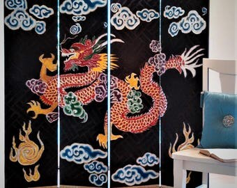 Hand made original,  decorator screen,  Chinese theme  Red Dragon
