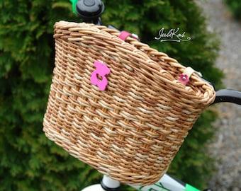 Bicycle basket children Girls bike basket Colored Beige Up cycled basket  bike bag Wicker basket for Bike  Gift for cyclist  Gift for child