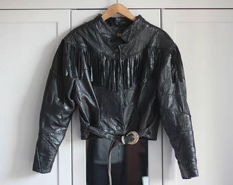 Vintage Leather Biker Jacket Fringe Grunge Black Ramones Retro 90s 80s Rock n Roll Look Genuine High Fashion Women / Small/Medium size