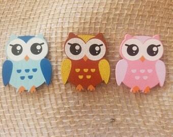 """1 1/2"""" Wooden owls, Buhos de Madera, Wooden Animals, Animales de Madera, Baby Shower Decorations, Recuerdo de bebe"""