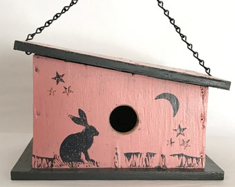 Unique, Handmade, Wooden Birdhouse with Playful Jack Rabbit Prints